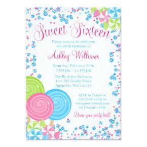 Blue Faux Glitter Candy Theme Sweet 16 Invitation