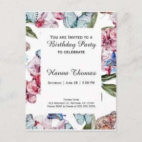 Blue Floral Butterfly Birthday Invitation PostInvitations