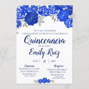 Blue Floral Quinceañera Invitation In Spanish
