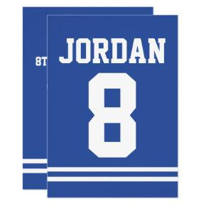 Blue Football Jersey - Sports Theme Birthday Party Invitation