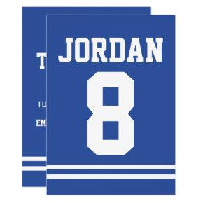 Blue Football Jersey Sports Theme Party Thank You Card