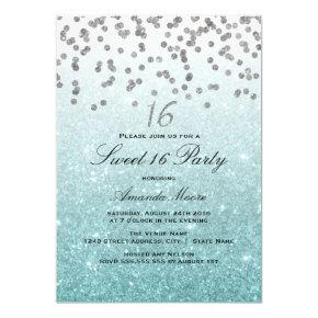 Blue Glitter Confetti Sweet 16 Invitations
