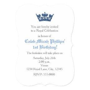 Blue Glitter Crown Royal Birthday Invitations