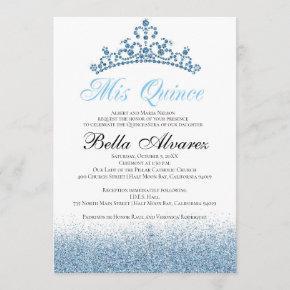 Blue Glitter Quinceañera Invitation Mis Quince