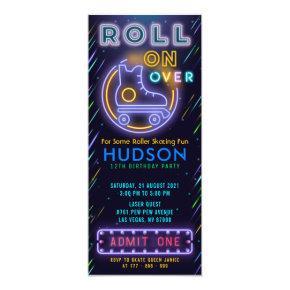 Blue Glow Roller Skating Ticket Pass Birthday Invitation