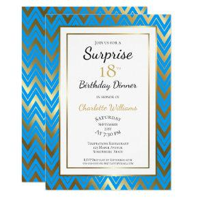Blue Gold Chevron Surprise 18th Birthday Dinner Invitation