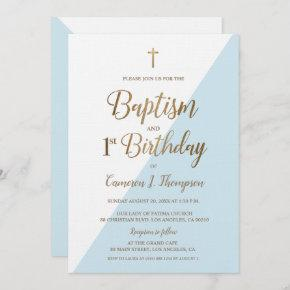Blue Gold Cross Baptism 1st Birthday Invitation