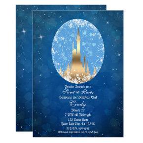 Blue Gold Fairy Tale Castle Sparkle Sweet 16 Invitation