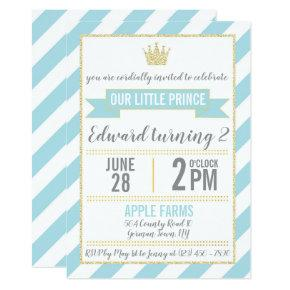 Blue Gold Glitter Prince Birthday Invitation