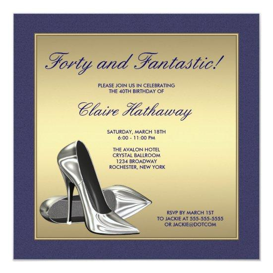 Blue gold high heels womans 40th birthday party invitations blue gold high heels womans 40th birthday party invitations filmwisefo