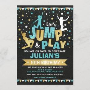 Blue Gold Jump & Bounce Trampoline Birthday Party Invitation