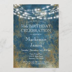 Blue Gold Lights Birthday Party Invitation Adult