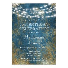 Blue Gold Lights Birthday Party Invitations Adult