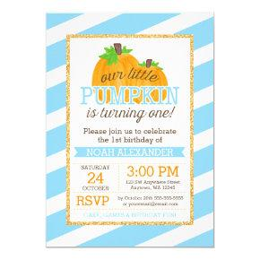 Blue Gold Little Pumpkin Boy First Birthday Invitations