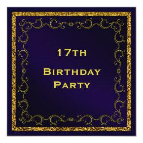 Blue & Gold Man's Double Sided 17th Birthday Card