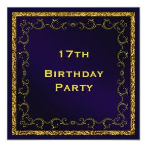 Blue & Gold Man's Double Sided 17th Birthday Invitations