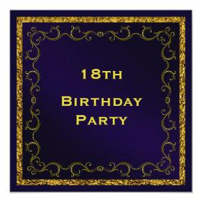 Blue & Gold Man's Double Sided 18th Birthday Card