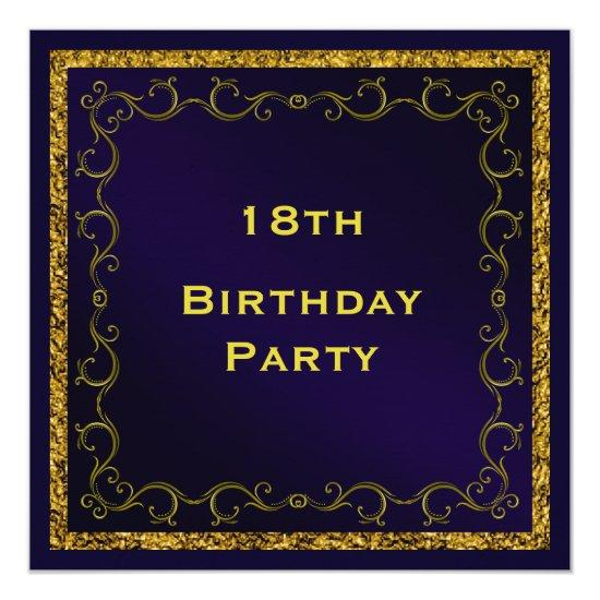 Blue & Gold Man's Double Sided 18th Birthday Invitations