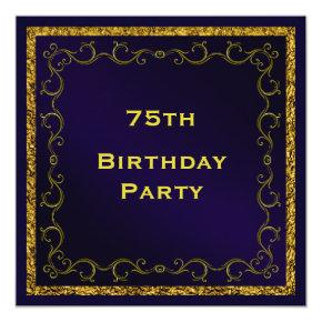Blue & Gold Man's Double Sided 75th Birthday Invitation