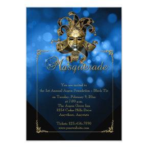 Blue Gold Masquerade Mardi Gras Ball Invitations