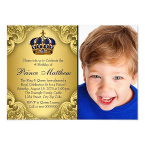 Blue Gold Prince Crown Prince Birthday Party Invitations