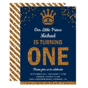 Blue Gold Royal Prince First Birthday Invitation