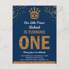 Blue Gold Royal Prince First Birthday Invitation Post