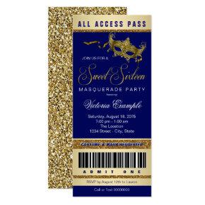 Blue Gold Sweet 16 Masquerade Party Ticket Invitations