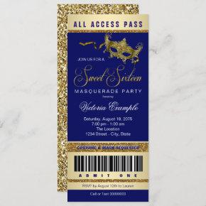 Blue Gold Sweet 16 Masquerade Party Ticket Invitation