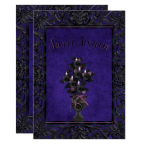 Blue Gothic Frame Black Rose & Candles Sweet 16 Card