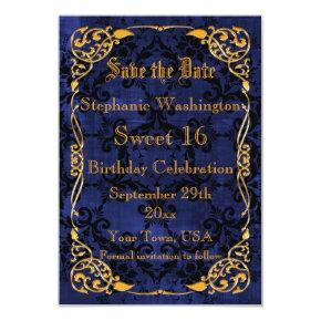 Blue Gothic & Gold Framed Sweet 16 Save The Date Card