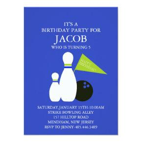 Blue & Green Bowling Party Birthday Invitation
