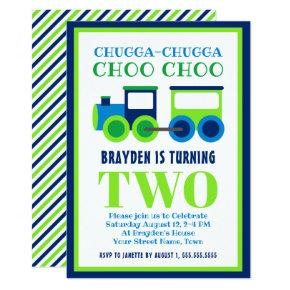 Blue Green Choo Choo Train 2nd Birthday Party Invitation