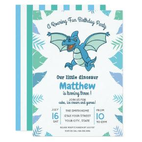 Blue Green Dinosaur Kid's Birthday Party Invitation