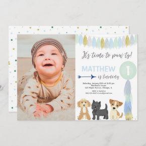 Blue green gold cute dog puppy boy birthday photo invitation