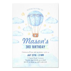 Blue Hot air balloon invitation, Boy 1st birthday Invitation