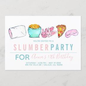 Blue kid girl sleepover slumber party invitation