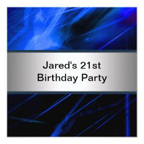 Blue Lights Mans 21st Birthday Party Invitation
