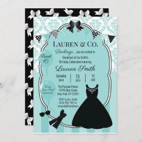 Blue Little Black Dress Sweet 16 Birthday Invitation