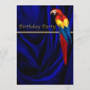 Blue Macaw Parrot Satin Birthday Party Template