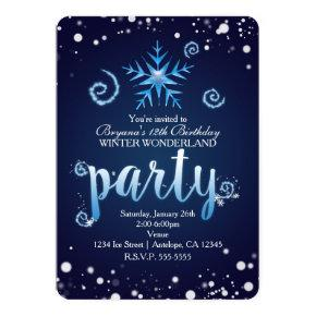 Blue Magical Swirls Winter Wonderland