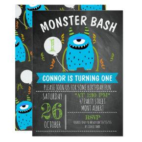 Blue Monster Chalkboard Birthday Invitations