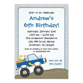 Blue Monster Truck Birthday Invitations