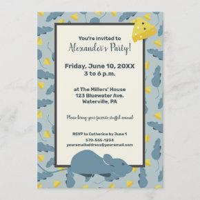 Blue Mouse and Cheese Custom Birthday Party Invitation