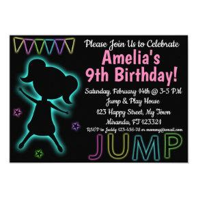 Blue Neon Jump birthday invitation
