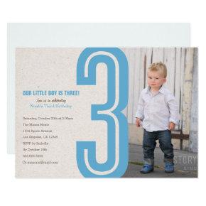 Blue Number Three Birthday Party Invitation