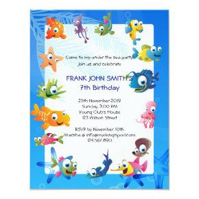 Blue Ocean Theme Children's Birthday Party Invitations