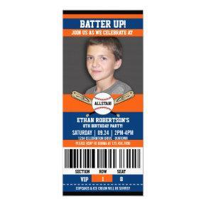 Blue Orange Ticket Style Baseball Birthday Party Invitation