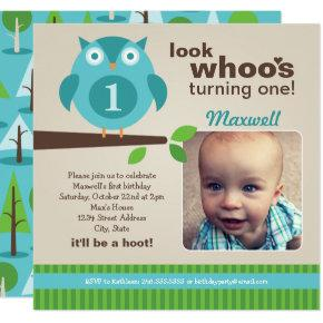 Blue Owl | Modern Woodland Birthday Boy Party Invitations