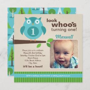 Blue Owl Modern Woodland Birthday Boy Party Invitation